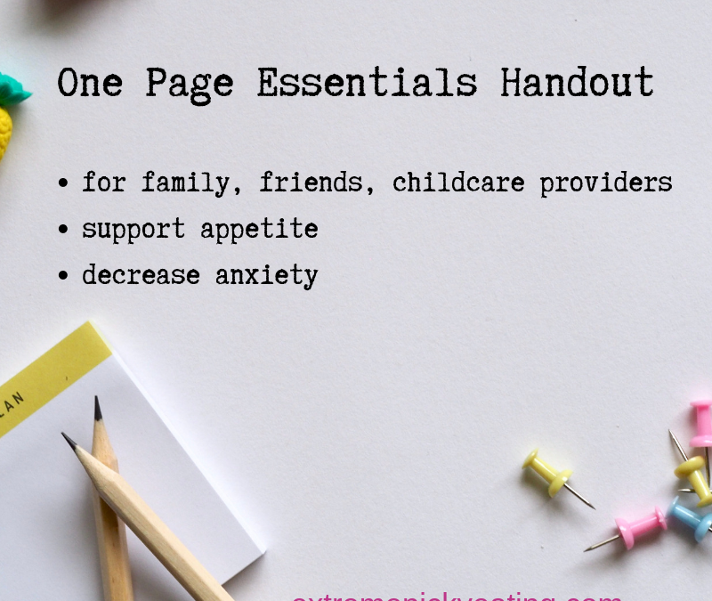 One Page Essentials Handout for Extreme Picky Eating